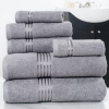 Lavish Home 100% Cotton Hotel 6 Piece Towel Set - Silver