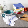 Kitchen Dish Cloth-Set of 16- 12.5x12.5?-Absorbent 100% Cotton Wash Cloths-Vintage Striped in 4 Colors & 4 Solid Dishcloths by Lavish Home