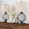Table Lamps-Set of 2 Wrought Iron Open Cage Orb Lights, Bulbs and Linen Shades Included-Modern Rustic for Any Home Decor Lavish Home