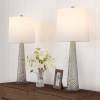 Table Lamps ? Set of 2 Contemporary Hammered-Look Glass for Bedroom, Living Room, Office with Energy-Efficient LED Bulbs by Lavish Home