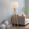 Tripod Floor Lamp-Modern Light with LED Bulb Included-Natural Oak Wood with White Shade for Bedroom, Living Room, or Home Office by Lavish Home