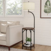 Floor Lamp End Table- Modern Rustic Side Table with Drum Shaped Shade, LED Light Bulb Included, USB Charging Port and Storage Shelf by Lavish Home