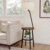 Floor Lamp End Table-Mid Century Modern Side Table with Drum Shaped Shade, LED Light Bulb Included, USB Charging Port and Storage Shelf by Lavish Home
