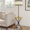 Floor Lamp End Table- Mid Century Modern Side Table with Drum Shape Shade, LED Light Bulb Included, USB Charging Port, Tripod Legs by Lavish Home