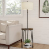 Floor Lamp End Table- Mid Century Modern Style Side Table, Hairpin Legs, Drum Shape Shade, LED Light Bulb Included & USB Charging Port by Lavish Home
