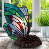 Tiffany Style Butterfly Lamp-Stained Glass Table or Desk Light LED Bulb Included-Vintage Look Colorful Accent Decor by Lavish Home (Pointed Wings)