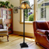 Tiffany Style Floor Lamp ? Mission Design Art Glass Lighting 2 LED Bulbs Included- Vintage Look Handcrafted Accent Decor by Lavish Home