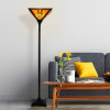 Tiffany Style Floor Lamp ? Mission Design Art Glass Torchiere Lighting LED Bulb Included- Vintage Look Handcrafted Accent Decor by Lavish Home