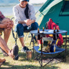Camp Table-Round 2-Tier Folding Table with 4 Cupholders and Carrying Bag-For Camping, Beach, Picnic, Sporting Events, and More by Wakeman Outdoors