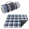 Waterproof Picnic Blanket- Large Outdoor Beach Mat- Blue Plaid & Faux Leather Strap- For Travel, Camping, Festivals & Sport Events by Wakeman Outdoors