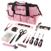 Tool Kit - 123 Pink Heat-Treated Pieces with Carrying Bag - Essential Steel Hand Tool and Repair Set for Apartments, Dorm, Homeowners by Stalwart
