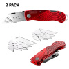 Folding Utility Knife Set? Retractable Box Cutter with Aluminum Body, Lock Back, Quick Release Blade, Belt Clip, 10 Extra Blades by Stalwart (2 Pack)
