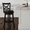 Swivel High Back Bar Stool- 29? Counter or Bar Height- 360 Degree Rotating Seat, Faux Leather, Solid Dark Wood Finish & Footrest by Nottingham (Black)