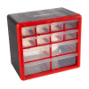 12 Drawer Storage Cabinet- Plastic Organizer with 4 Large & 8 Small Compartments- Desktop or Wall Mount for Hardware, Parts, Crafts & More by Stalwart