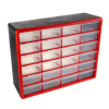 24 Drawer Storage Cabinet- Compartment Plastic Organizer- Desktop or Wall Mount Container for Hardware, Parts, Crafts, Beads & Tools by Stalwart