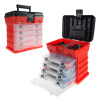 Storage and Tool Box- Durable Organizer Utility Box with 4 Compartments for Hardware, Fish Tackle, Beads, and More by Stalwart (Red)