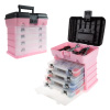 Storage and Tool Box- Durable Organizer Utility Box with 4 Compartments for Hardware, Fish Tackle, Beads, and More by Stalwart (Pink)