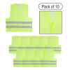 High Visibility Reflective Vest ?Fluorescent Green with Silver Stripe Workwear with Hook and Loop Closures-Outdoor Safety Gear by Stalwart (Set of 10)