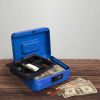Cash Box ? Locking Money Safe with Removable 5 Slot Coin Tray and Combination Entry for Yard Sales, Markets and Concession Stands by Stalwart (Blue)