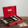 Cash Box ? Locking Petty Cash Safe with Removable 5 Slot Coin Tray and Key Entry for Yard Sales, Markets and Concession Stands by Stalwart (Red)