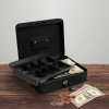 Cash Box ? Locking Steel Petty Cash Safe with Removable Coin Tray and Key Entry for Yard Sales, Markets and Concession Stands by Stalwart (Black)