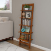 Ladder Bookshelf-5 Tier Leaning Decorative Shelves for Display- Cherry Wood Accent Home D�cor for Living Room, Bathroom & Kitchen Shelving Lavish Home