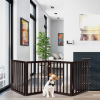 Freestanding Pet Gate- 4 Panel Brown Wooden Folding Fence for Doorways, Halls, Stairs & Home- Expandable Divider- Great for Dogs & Puppies by Petmaker