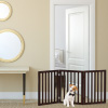 Freestanding Pet Gate- 3 Panel Brown Wooden Folding Fence for Doorways, Halls, Stairs & Home- Step Over Divider- Great for Dogs & Puppies by Petmaker