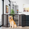 Freestanding Pet Gate-4 Panel Wooden, Scalloped Top Folding Fence for Doorways, Halls & Stairs-Expandable Divider-Great for Dogs & Puppies by Petmaker