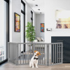 Freestanding Pet Gate- 4 Panel Gray Wooden Folding Fence for Doorways, Halls, Stairs & Home- Expandable Divider- Great for Dogs & Puppies by Petmaker
