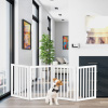 Freestanding Pet Gate- 4 Panel White Wooden Folding Fence for Doorways, Halls, Stairs & Home- Expandable Divider- Great for Dogs & Puppies by Petmaker