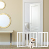 Freestanding Pet Gate- 3 Panel White Wooden Folding Fence for Doorways, Halls, Stairs & Home- Step Over Divider- Great for Dogs & Puppies by Petmaker