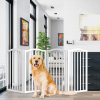 Freestanding Pet Gate-4 Panel White, Scalloped Top Folding Fence for Doorways, Halls & Stairs- Expandable Divider-Great for Dogs & Puppies by Petmaker