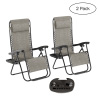 Zero Gravity Lounge Chairs- Set of 2- Gray Folding Anti-Gravity Recliners- Side Table, Cup Holder & Pillow-For Outdoor Lounging by Lavish Home