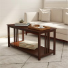 Coffee Table- 2 Tier Mission Style Sofa Table- Wood Frame & Storage or Display Shelf-Living Room Furniture, Console or TV Stand by Lavish Home (Brown)