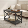 Coffee Table-2 Tier Sofa Table-Gray Wood & Modern X-Leg Design-Living Room Furniture for Storage, Display or TV Stand in Home or Office by Lavish Home