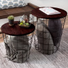 Nesting End Tables with Storage - Set of 2 Convertible Round Metal Storage Basket Base with Veneer Top - Accent Side Tables By Lavish Home (Cherry)