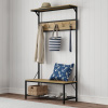 Entryway Storage Bench- Metal Hall Tree with Seat, Coat Hooks and Shoe Storage- Rustic Farmhouse Design Freestanding Mudroom Furniture by Lavish Home