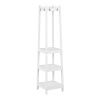 Coat Rack-Modern Freestanding Wooden Stand with Hanging Hooks and 3 Tiers of Shelves-For Hallway, Entryway or Office by Lavish Home (White)