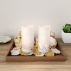 LED Seashell Candles with Remote Control-Set of 2 Nautical Realistic Flameless Color Changing Pillar Lights-Ambient Coastal Home D�cor by Lavish Home