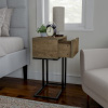 Sofa Side Table- C Shaped End Table with Storage Drawer, Modern Farmhouse or Rustic Style Laptop Tray, Slide Under Couch or Bed by Lavish Home (Gray)