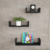 Floating Shelves- U Shape Wall Shelf Set with Hidden Brackets, 3 Sizes to Display Decor, Books, Photos, More- Hardware Included by Lavish Home (Black)
