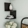 Floating Corner Shelf- 2 Tier Wall Shelves with Hidden Brackets to Display D�cor, Books, Photos, More- Hardware Included by Lavish Home (Black)