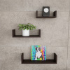 Floating Shelves- U Shape Wall Shelf Set with Hidden Brackets, 3 Sizes to Display Decor, Photos, More-Hardware Included by Lavish Home (Dark Brown)