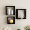 Floating Shelves- Open Cube Wall Shelf Set with Hidden Brackets, 3 Sizes to Display D�cor, Photos, More- Hardware Included by Lavish Home (Black)
