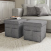 Foldable Storage Cube Ottoman with Pockets ? Multipurpose Footrest Organizer for Bedroom, Living Room, Dorm or RV by Lavish Home (Pair, Charcoal Gray)