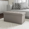 Folding Storage Bench Ottoman?30? Faux Gray Leather- Foam Padded Lid-Removable Bin-Organizer for Home, Bedroom, Living Room & Kid Toys by Lavish Home