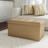 Folding Storage Bench Ottoman? 30? Tufted Foam Padded Lid- Removeable Bin- Organizer for Home, Bedroom, Living Room & Kid Toys by Lavish Home (Beige)