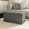 Large Folding Storage Bench Ottoman ? Tufted Cube Organizer Furniture with Removeable Bin for Home, Bedroom, Living Room by Lavish Home (Grey)