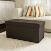 Large Folding Storage Bench Ottoman ? Tufted Cube Organizer Furniture with Removable Bin for Home, Bedroom, Living Room by Lavish Home (Brown)